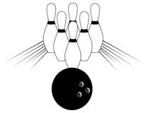 Isolated Bowling pins. Composition of element about bowling, usable for all project about this sport, specially if You want to talk about win Stock Images