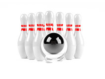Bowling concept. Bowling ball making hole in the sizes Royalty Free Stock Photo