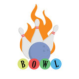 Bowling concept. Ball on fire. Strike. Bowling concept. Ball on fire isolated. Strike lettering Royalty Free Stock Photos