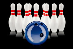 Bowling concept, 3D rendering Royalty Free Stock Photo
