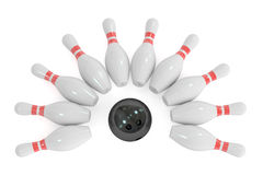 Bowling concept, 3D rendering. On white background Stock Photography