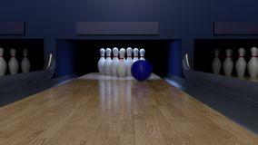Bowling with crazy boll and tricky pins stock footage