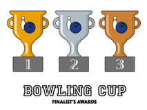 Bowling Cup Finalists Awards in Gold, Silver and Bronze. Vector Symbols Royalty Free Stock Images