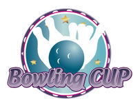 Bowling cup label Stock Image