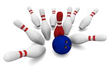 Bowling 3d. Concept bowling 3d on white background illustration Royalty Free Stock Images