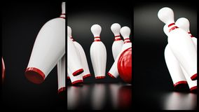 Bowling 3d illustration. With copy space Royalty Free Stock Images