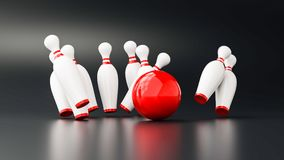 Bowling 3d illustration. With copy space Royalty Free Stock Photos