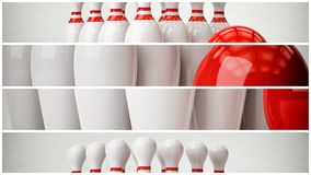Bowling 3d illustration. With copy space Royalty Free Stock Photography