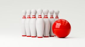 Bowling 3d illustration. With copy space Royalty Free Stock Image