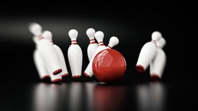 Bowling 3d illustration. With copy space Royalty Free Stock Photo