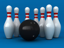 Bowling. 3d render of bowling pins and ball over blue background Stock Image