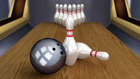 Bowling 3D Sport - Ball and Pins on Lane. Bowling 3D Sport Game - Ball and Pins on Lane Stock Photos