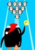 Bowling de la Navidad del pingüino Imagen de archivo libre de regalías