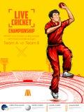 Bowling de lanceur dans des sports de championnat de cricket illustration stock