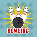 Bowling design. Over dotted background vector illustration Stock Photo