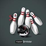 Bowling di sorriso di buon compleanno Fotografia Stock Libera da Diritti