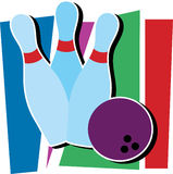 Bowling Ding. Three bowling pins and a bowling ball Stock Images