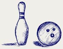 Bowling do esboço ilustração royalty free