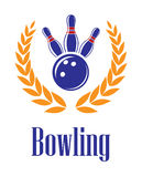 Bowling elements in laurel wreath Royalty Free Stock Image