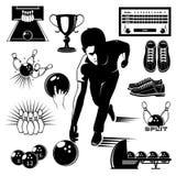 Bowling Elements Vintage Style Set vector illustration