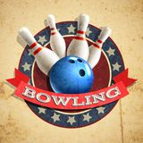 Bowling Emblem Background. Bowling sport emblem with ball and pins on textured background vector illustration Royalty Free Stock Photography