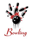 Bowling emblem or logo. Expressive bowling emblem or logo with smashing ball and ninepins isolated on white colored background for sport or recreation design Royalty Free Stock Image