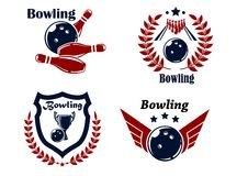 Bowling emblems or badges. Set with smashing ball ninepins laurel wreath outspread wings heraldic shield, trophy cup and stars Stock Photography