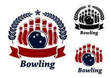 Bowling emblems with ball and ninepins. Bowling emblems with ball, ninepins and laurel wreath. Black and red isolated over white colored background . suitable Royalty Free Stock Photos