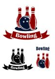 Bowling emblems with ball and ninepins. Bowling sporting emblems with ball, ribbons and ninepins. Suitable for logo, sports or leisure design Stock Images