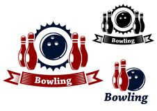 Bowling emblems with ball and ninepins. Bowling emblems and symbols set with ball and ninepins, suitable for sport and leisure design Stock Photo