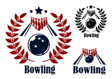 Bowling emblems and symbols. Set with a bowling ball and alley with the pins in the background in three variants with and without circular laurel wreaths Stock Photo