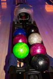 Bowling. Equipment with colored balls on it stock images