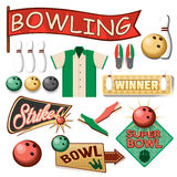 Bowling Equipment Set. Flat Icons Collection. Royalty Free Stock Photography