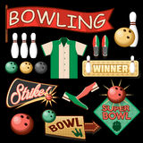 Bowling Equipment Set. Flat Icons Collection. Royalty Free Stock Photo