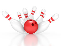 Bowling exact hit Royalty Free Stock Photos