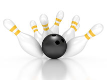 Bowling exact hit Stock Photography