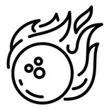Bowling fire ball icon, outline style stock illustration