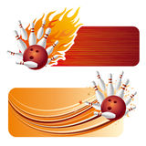 Bowling with flames. Bowling design element and flames Stock Photos