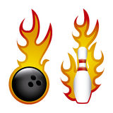 Bowling. Flames over white background vector illustration Royalty Free Stock Photography