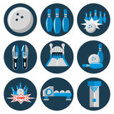 Bowling flat icon set Royalty Free Stock Images