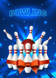 Bowling flyer template. A6 format size. Vector clip art illustration Royalty Free Stock Image