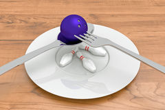 Bowling food - bowling ball with pins, spoon, fork and plate Royalty Free Stock Photos