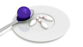 Bowling food - bowling ball with pins, spoon and plate Royalty Free Stock Images