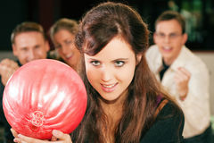 Bowling with friends Royalty Free Stock Image