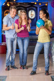 Bowling with friends. Stock Photo