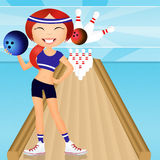 Bowling. Funny illustration of girl in the bowling Stock Images