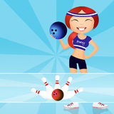 Bowling. Funny illustration of girl in the bowling Royalty Free Stock Photos
