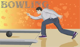 Bowling game. A man throws the ball and smashes tenpins in the bowling game. Vector illustration Stock Image