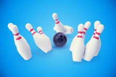 Bowling game, black ball crashing into the skittles. 3d illustration Stock Photo