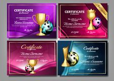 Bowling Game Certificate Diploma With Golden Cup Set Vector. Sport Award Template. Achievement Design. Honor Background stock illustration